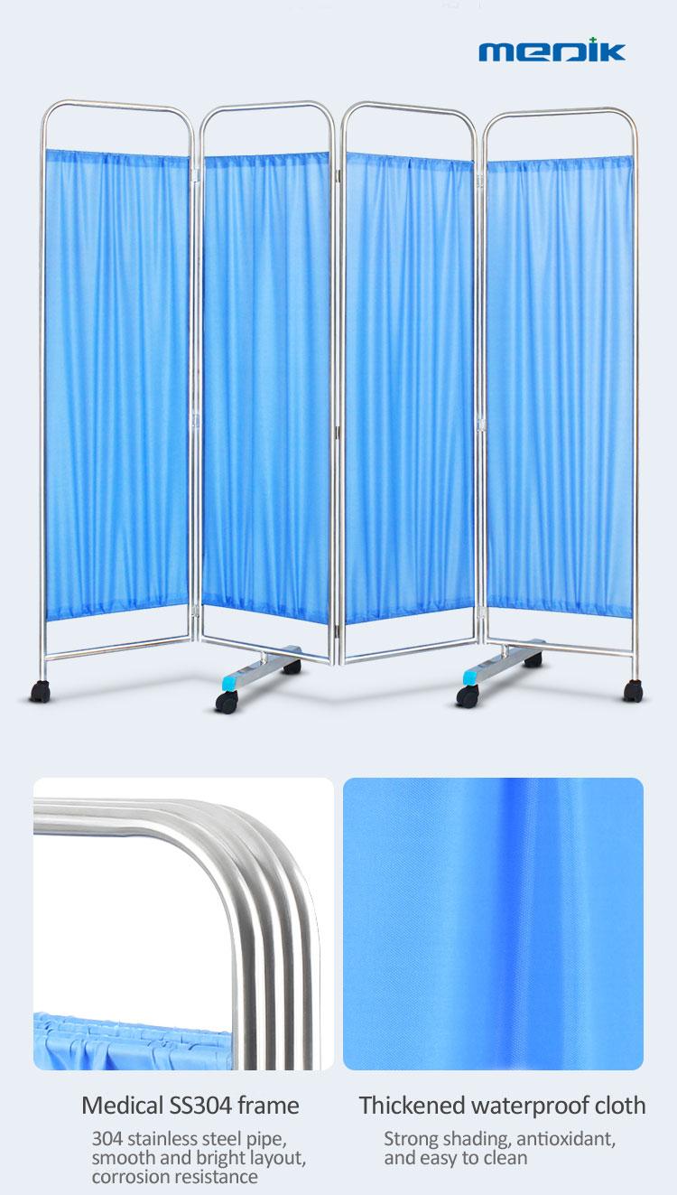 YA-HS001 Hospital Folding Stainless Steel 3-Part Ward Screen