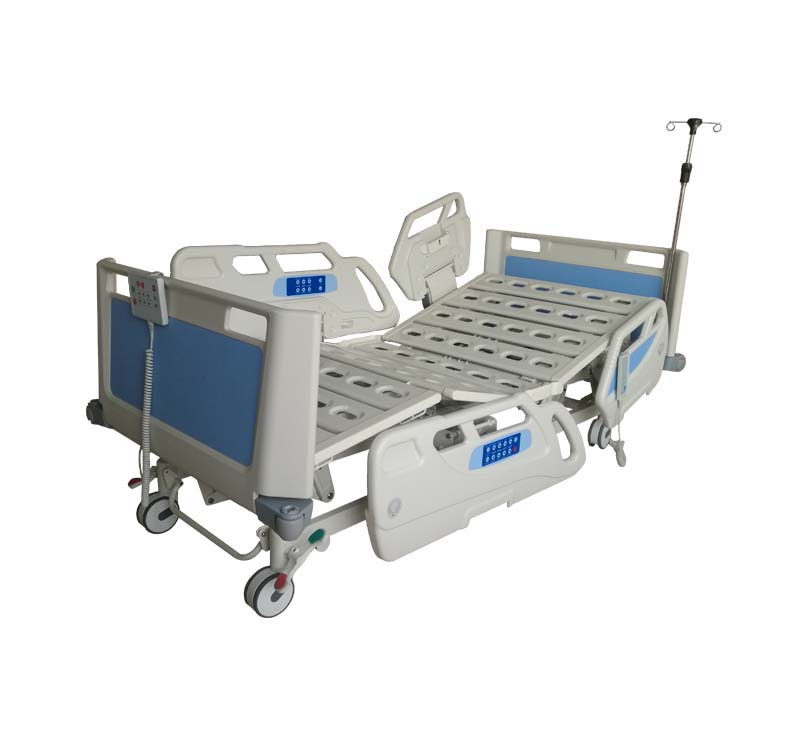 Electric ICU hospital bed with embedded railing control and optional weighing function