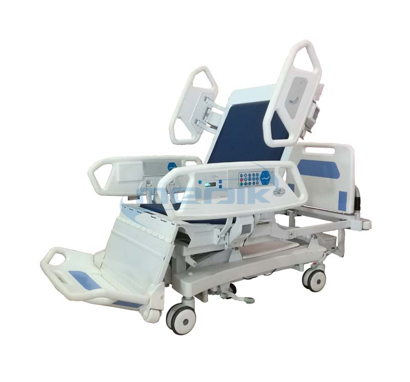 Total chair position electric hospital ICU bed with weighing scale