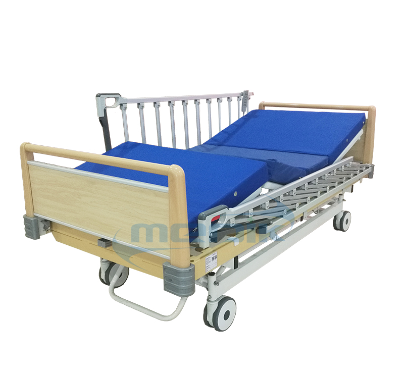 Three position electric hospital bed with high grade railing
