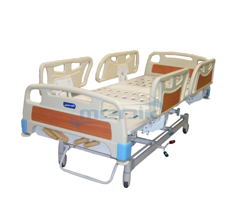 Lux 5 Functions Manual Hospital Bed With Abs Railing And Manual Guide