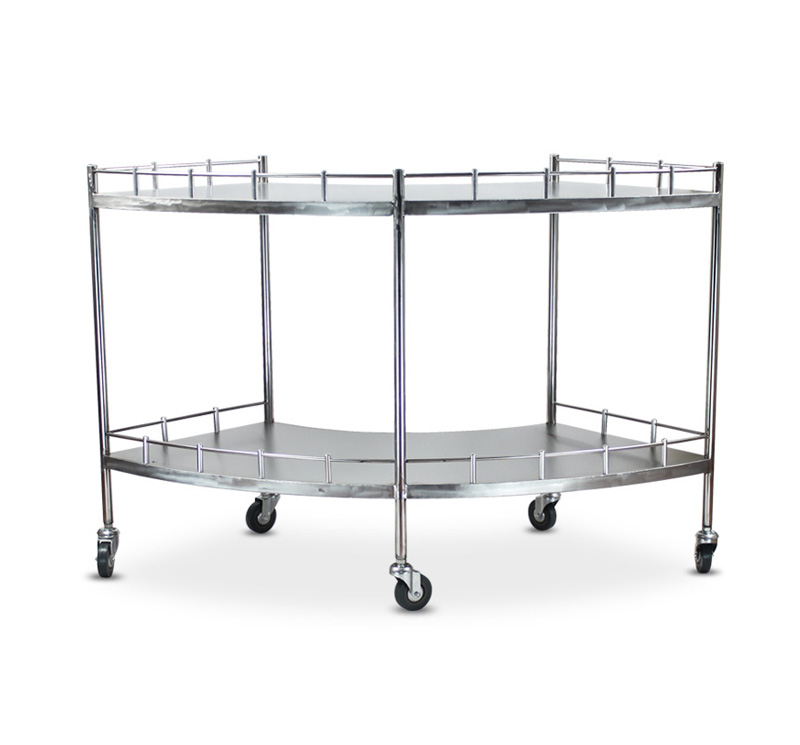 YA-006 Medical SS 304 Fan Shape Instrument Trolley With Casters
