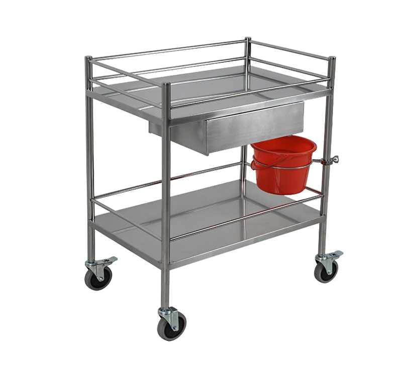MK-S04 Stainless Steel Hospital Dressing Trolley With Drawer