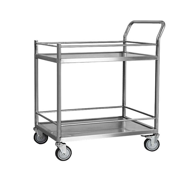 YA-S16 Stainless Steel Transport Cart Medical Instrument Trolley