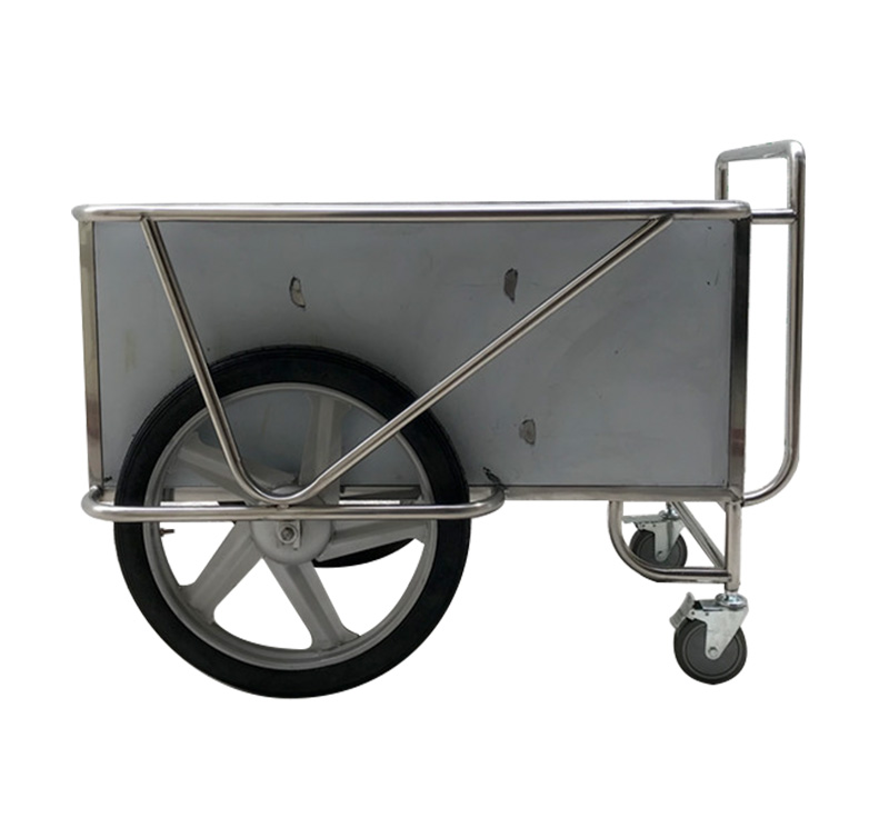 Stainless Steel Medical Drugs Trolley With Two Big Wheels