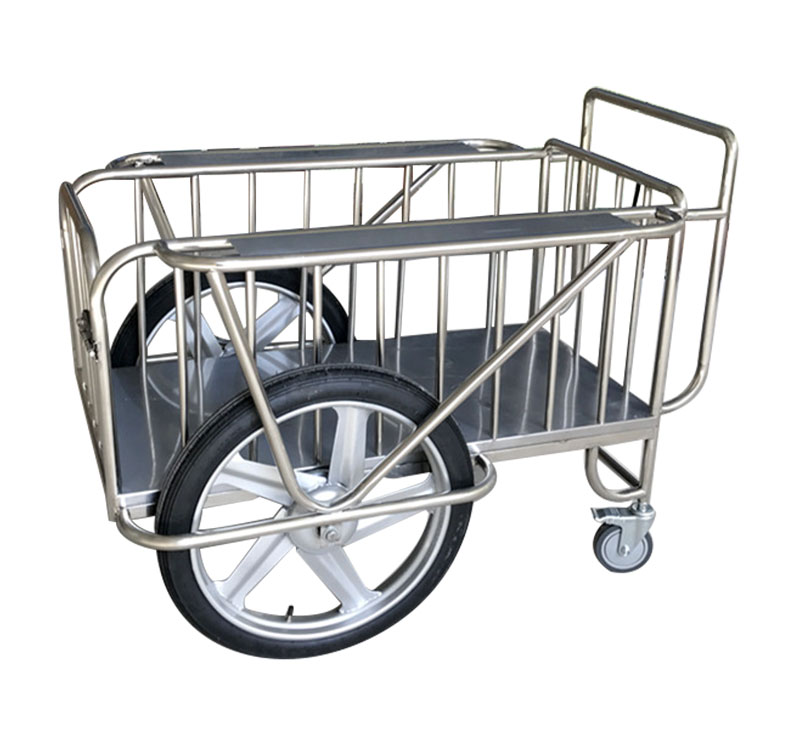 MK-S15 Stainless Steel Medical Drugs Trolley With Two Big Wheels