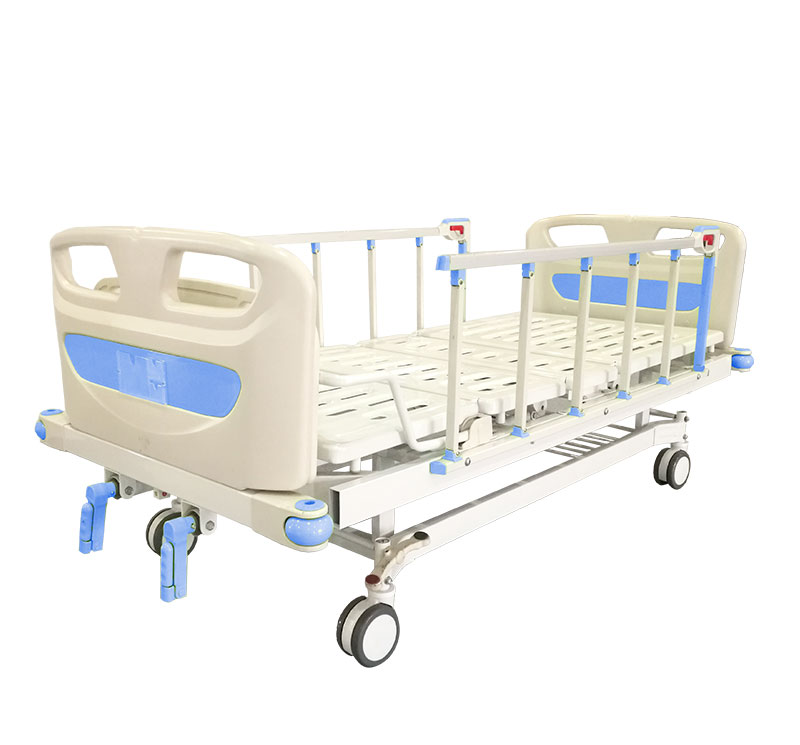 YA-M2-1 Two Movements Manual Hospital Bed With Aluminum Railing