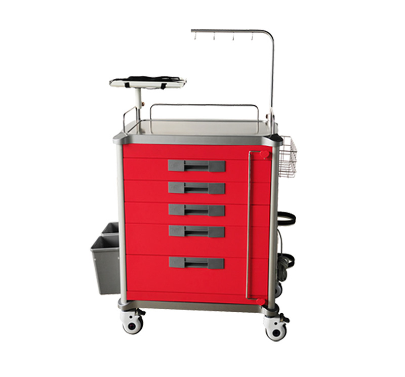 MK-C01 Metal Emergency Cart With Five Drawers