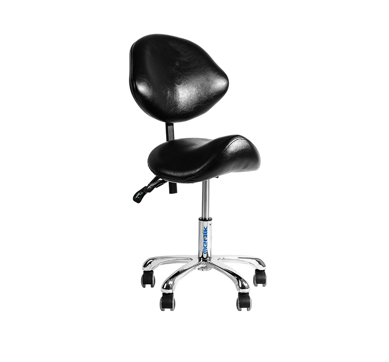 YA-S06 Ergonomic Adjustable Tilt Saddle Doctor Stool With Back Support
