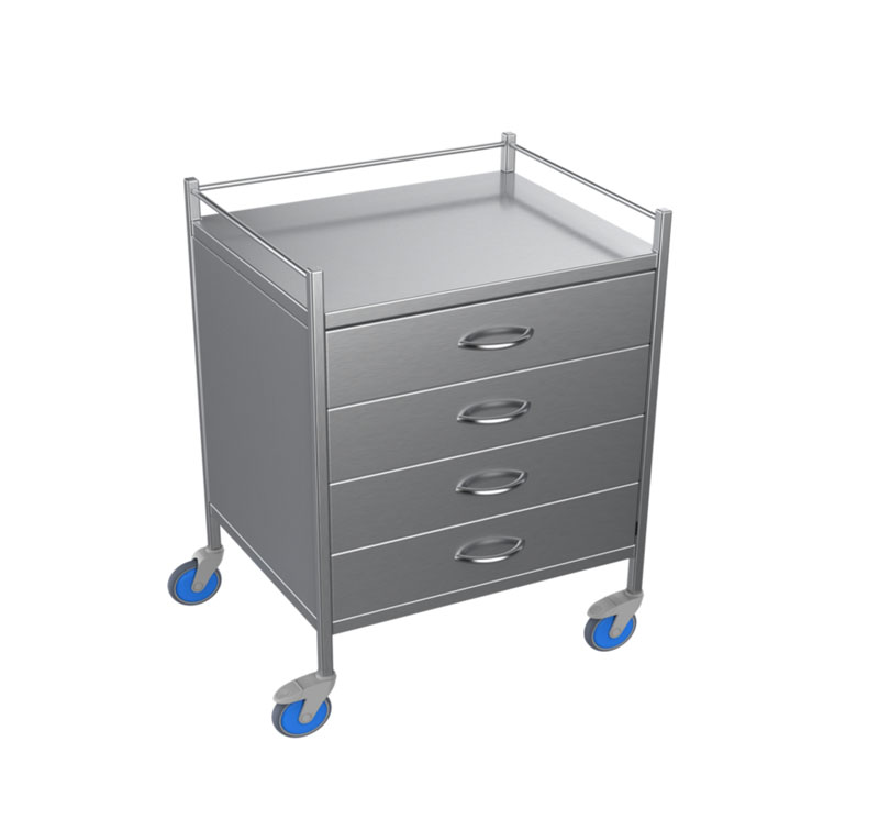 MK-S27 Stainless Steel Resuscitation Trolley With Castors