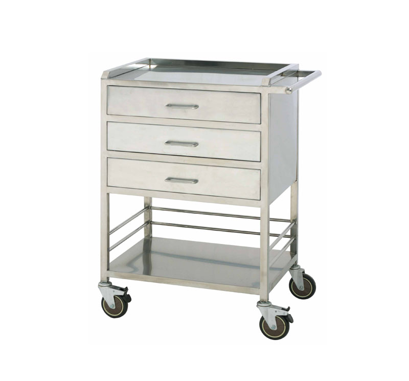 MK-S25 Mobile Stainless Steel Medicine Trolley With Push Handle
