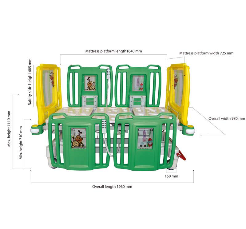 YA-PD5-3 Electric Pediatric ICU Bed